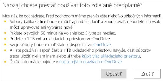 Snímka obrazovky spotvrdzovacím dialógovým oknom, ktoré sa zobrazí, keď ukončíte používanie zdieľaného predplatného služieb Office 365 Home.