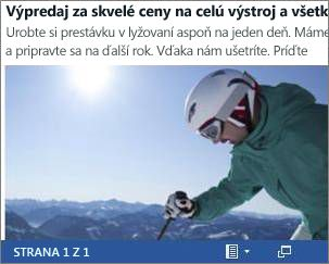 Vložený wordový dokument sletákom ovýpredaji lyží