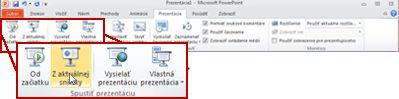 Karta Prezentácia s pohľadom na skupinu Spustiť prezentáciu v programe PowerPoint 2010.
