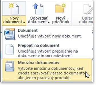 Príkaz Súprava dokumentov v ponuke Nový dokument