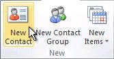 Príkaz Nový kontakt na páse s nástrojmi