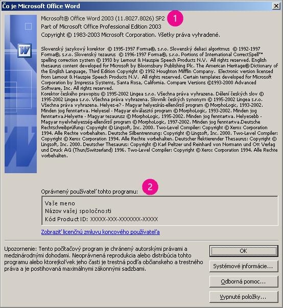 Okno O programe Microsoft Office Word 2003