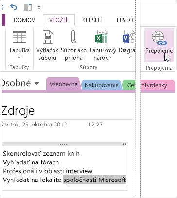 Vloženie prepojenia a prechod na adresu URL po kliknutí.