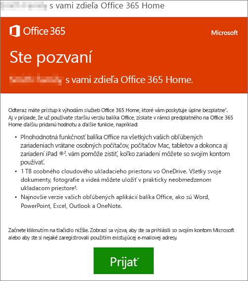 E-mail s oznamom, že niekto s vami zdieľa služby Office 365 Home