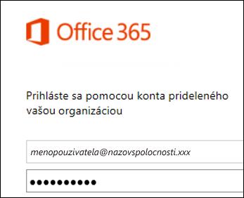 Prihlasovacia obrazovka portálu služieb Office 365