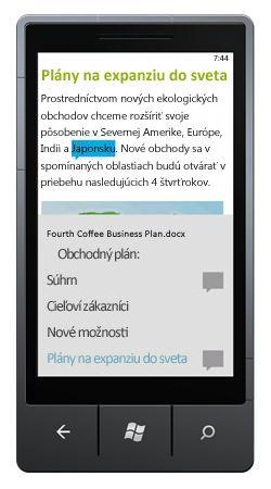 Aplikácia Word Mobile