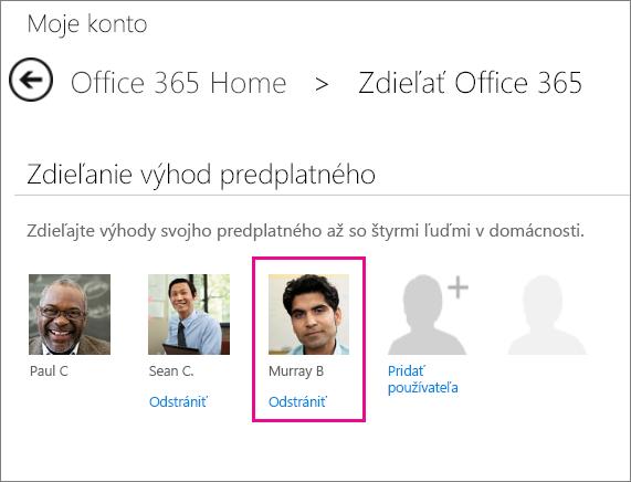 Snímka obrazovky stránky Zdieľanie služieb Office 365 svybratou možnosťou Odstrániť pre používateľa.