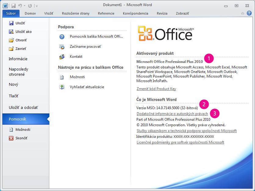 Produktové informácie po kliknutí na položky Súbor > Pomocník vo Worde 2010
