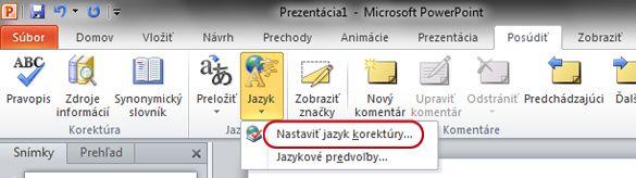 Položka Nastaviť jazyk korektúry na karte Revízia na páse s nástrojmi v programe PowerPoint