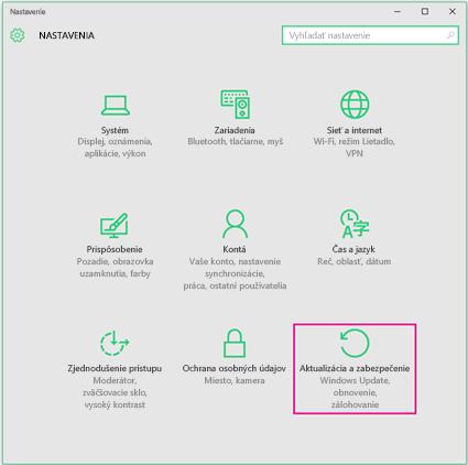 Nastavenie služby Windows Update vo Windowse 10