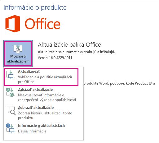 Manuálna kontrola aktualizácií balíka Office vo Worde 2016