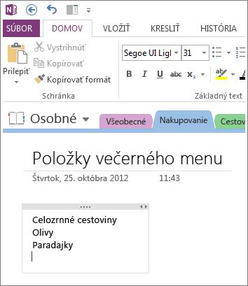 Kliknutie na ľubovoľné miesto na zadávanie poznámok v programe OneNote.