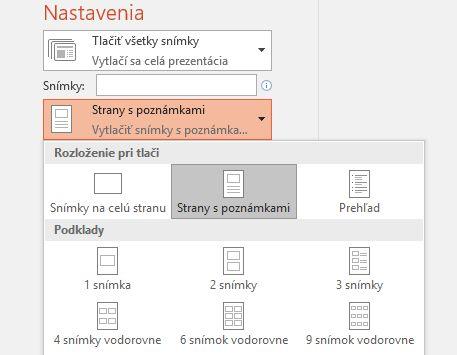 snímka obrazovky smožnosťou tlače poznámok