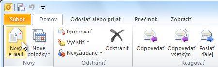 Príkaz Nový e-mail na páse s nástrojmi