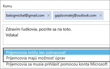 Výber možností Iba zobrazovanie aVyžaduje sa prihlásenie v e-maile s pozvánkou