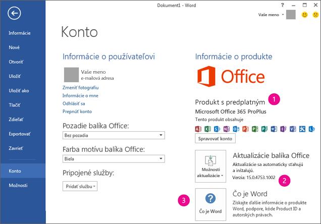 Súbor > Konto v rámci predplatného na Office 365