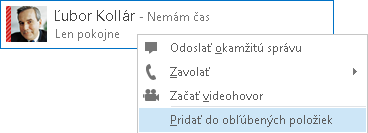 Snímka obrazovky s výberom Pridať medzi obľúbené položky
