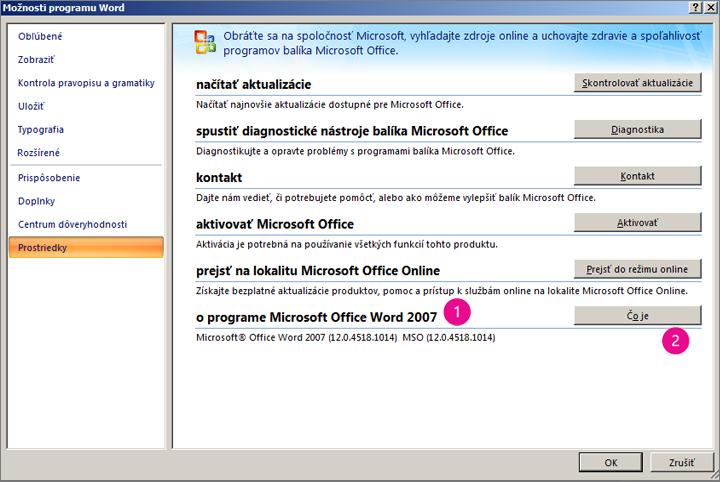 Okno Zdroje v časti Možnosti programu Word vo Worde 2007