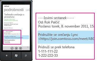 Posnetek zaslona, ki prikazuje zahtevo za pridružitev Srečanju Lync za mobilne odjemalce