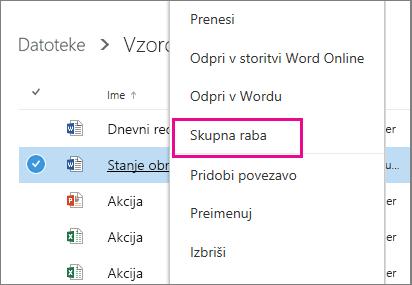 Posnetek zaslona skupne rabe dokumenta s klikom desne tipke miške in izbiro možnosti »Skupna raba«