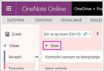 Posnetek zaslona, na katerem je prikazan postopek dodajanja strani v storitvi OneNote Online.