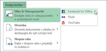 Dodajanje storitve, kot sta Flickr ali Facebook za Office