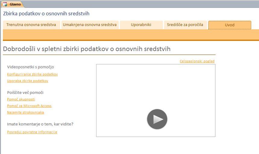 Spletna zbirka podatkov za osnovna sredstva