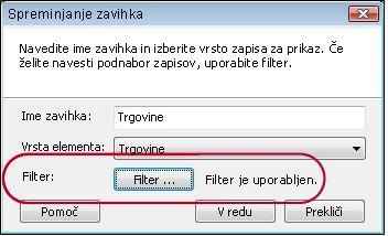 zavihek z uporabljenim filtrom