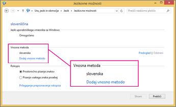 Način dodajanja vnosa v sistemu Office 2016 sistema Windows 8