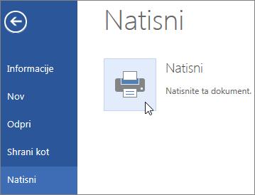 Gumb »Natisni v PDF« v programu Word Online
