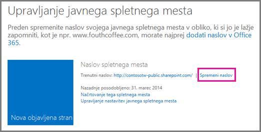 Pogovorno okno »Upravljaj javno spletno mesto« s prikazano možnostjo spreminjanja mesta naslova.