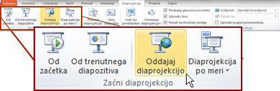 Možnost »Oddajaj diaprojekcijo« v skupini »Začni diaprojekcijo« na zavihku »Diaprojekcija« v programu PowerPoint 2010.