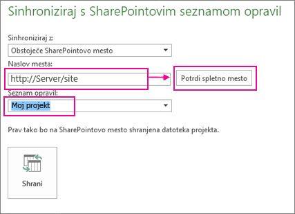 Shrani projekt v program SharePoint