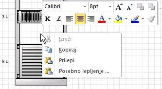 Kliknite desno tipko miške, če želite prilepiti kopirano obliko na mesto klika.
