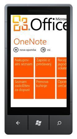 Zvezdišče za OneNote Mobile 2010