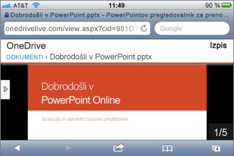 Prikaz diapozitiva v mobilnem pregledovalniku za PowerPoint