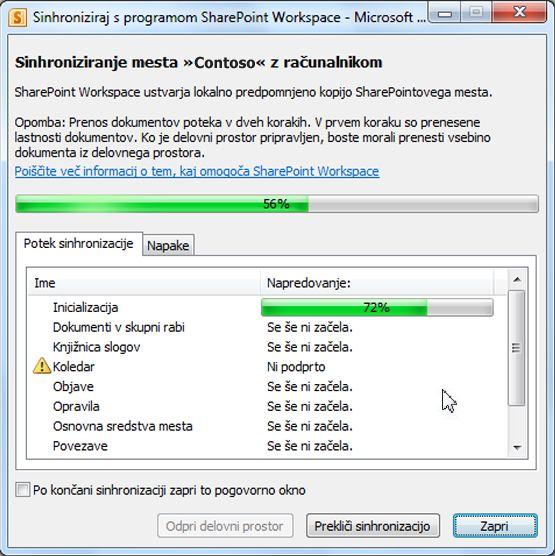 Okno s prikazom poteka sinhronizacije z računalnikom