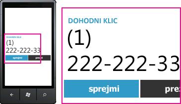Posnetek zaslona, ki prikazuje telefonsko številko dohodnega klica in gumb za sprejem v Lyncu za mobilne odjemalce