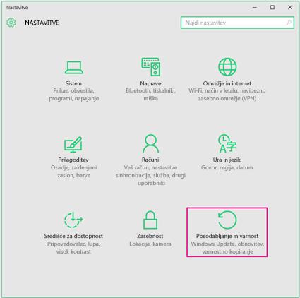 Namestitev posodobitev sistema Windows v sistemu Windows 10