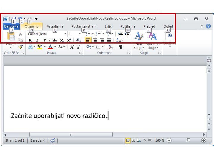 Zavihek »Osnovno« v programu Word 2010 s prikazanimi namigi za tipke