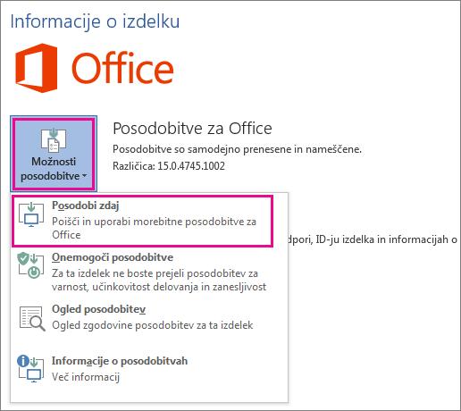 Ročno preverjanje posodobitev za Office v programu Word 2016