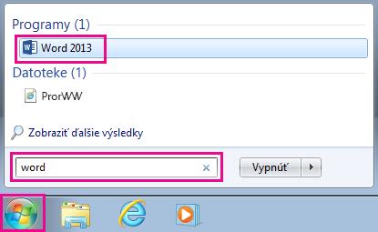 Iskanje Officeovih programov v sistemu Windows 7
