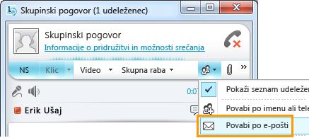 Pošiljanje povabila po e-pošti
