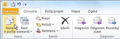 Ukaz »Nova e-pošta« na traku