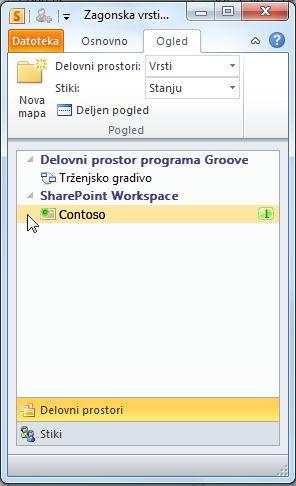 SharePointov delovni prostor v vrstici za zagon