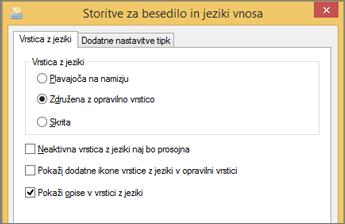 Besedilne storitve in jeziki za vnos v sistemu Office 2016 sistema Windows 8