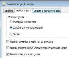 Pogovorno okno storitev za besedilo in jezikov vnosa