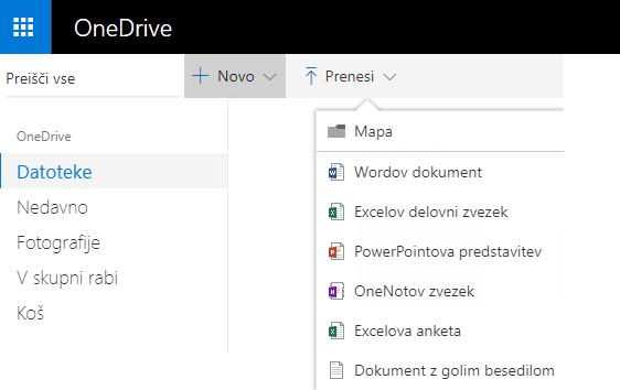 Posnetek zaslona za ustvarjanje dokumenta na spletnem mestu OneDrive.com