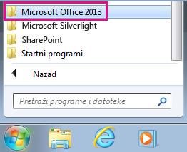 """Grupa """"Office 2013"""" u okviru stavke """"Svi programi"""" u operativnom sistemu  Windows 7"""