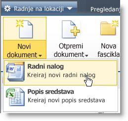 """Tipovi sadržaja se prikazuju u meniju """"Novi"""" za listu ili biblioteku."""